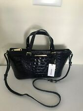 Brahmin Handbag Mini Asher Ink Navy Blue Satchel Shoulder Bag New