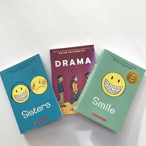 Smile Sisters Drama Raina Telgemeier Book Lot Paperback Young Reader Novels Girl