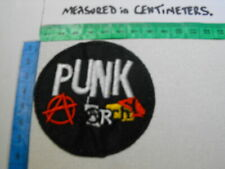"""Embroidered Sew-Iron Badge/Patch MUSIC PUNK ROCK - PUNK """"ANARCHY"""" Blk/Silv+Col"""