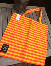 Marimekko Tasaraita, orange yellow  shopping magazine tote bag purse, Finland