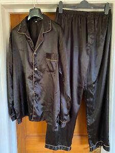 Tony & Candice Men's Black Satin Pyjamas with Gold Trim Size L