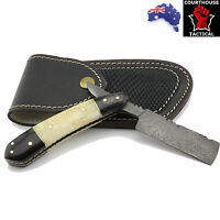 Handmade Cut Throat Razor, Damascus Blade, Camel Bone & Buffalo Horn Handle
