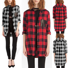 UK Womens Plaid Checked Oversized T-Shirt Ladies Long Sleeve Casual Tops Blouse