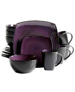 16pc Stoneware Soho Lounge Dinnerware Set Purple