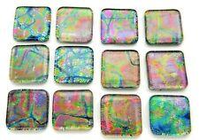 RAINBOW 12 pcs SQUARE DICHROIC FUSED GLASS pendants (H11) CABOCHONS HANDMADE