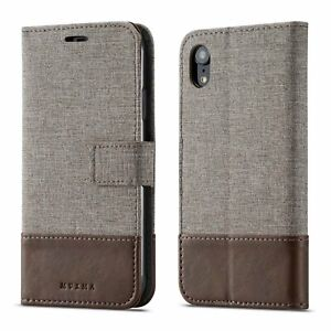 MUXMA Luxury Magnetic Wallet Case Flip Canvas Leather Card Pocket Cell Phones