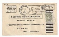 1951 Manila Philippines Business Reply Envelope 6c Postage Due #J25