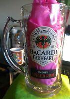 Bacardi Oakheart Spiced Rum Beer Mug Drinking Stein, 12 oz Rippled Glass Jug