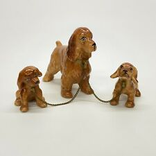 Kreiss & Co Porcelain Brown Cocker Spaniel Dog Mom & 2 Pups On Chains Figurines