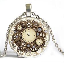 Bronze Chain Fashion Vintage Hot Pendant Gear Necklace Steampunk Cabochon Glass