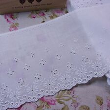 Embroidered Cotton Eyelet Lace Trim Broderie Anglaise 11cm Wide Off White 1yard