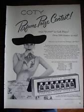1951 COTY Perfume Lady Large Black Hat Gloves Ad