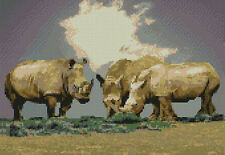 "Rhinos Rhinoceros Counted Cross Stitch Kit 12"" x 8.25"" 30.6cm x 21cm A2302 Rhino"