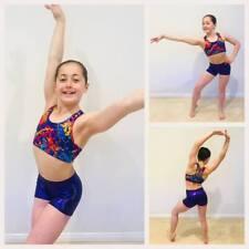 NEW RAINBOW CROP SET Child L Girls 10 Gymnastics Ballet Dance Gym Fancy Leotard
