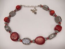 """Brighton Full Moon Rising Red Beaded Thick Necklace 16 - 20""""  N279"""