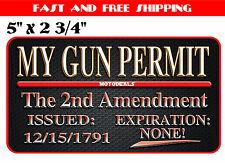 My Gun Permit Sticker - 2nd Amendment Vinyl Decal USA United States