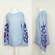 BNWT Cotton Traders Powder Blue  Jumper Sweater Floral Sleeves UK 16 Long Tall