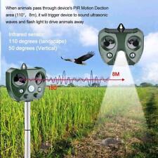 Solar Ultrasonic Pest & Animal Repeller Motion Sensor Bird Rat Possum Repellent