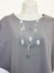 URBAN MIST Longe Multi layer necklace of silver leaves high quality alloy