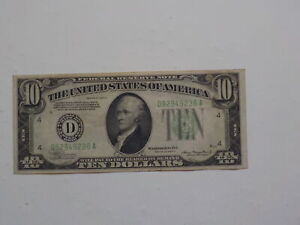 Federal Reserve 1934 10 Dollar Bill Paper Money Currency Note Green Seal VTG NR
