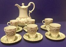 ANTIQUE DEMITASSE TEA SET MADE BY WEIMAR OF GERMANY HAND PAINTED CIRCA 1918