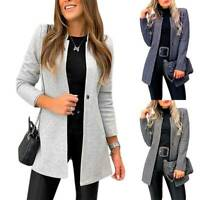 Damen Blazer Lang Cardigan Anzugjacke Strickjacke Jacke Mantel Windjacke 38 40