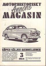 Motorhistoriskt Magasin Annons Swedish Car Magazine 3 1984 Opel 032717nonDBE