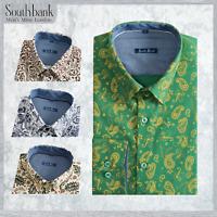 Men's Floral Shirt Print Canvas Slim Premier Cotton Vintage Paisley Green Yellow