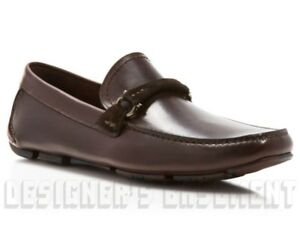 SALVATORE FERRAGAMO brown 7.5D leather GRANPRIX driving Moccasin shoes NIB Auth