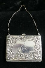 American Sterling Silver Silk Lined Purse With Art Nouveau Repousse