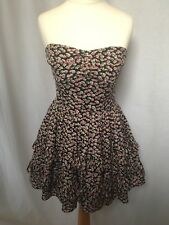 Jack Wills Size UK 8 Strapless Ditsy Floral Dress Fitted Ruffle Hem XS RRP £89