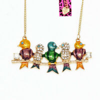 Colorful Enamel Crystal Five Birds Pendant Sweater Chain Betsey Johnson Necklace