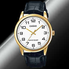 Casio Mens White and Gold Analog Watch With Black Leather Band Mtp-v001gl-7b