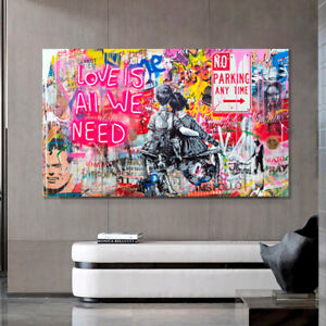 BOY & GIRL PRINT ON STRETCHED CANVAS PRINTS GRAFITTI BANKSY LOVE IS ALL WE NEED