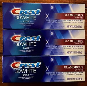 Crest 3D Glamorous White Luxe Lot of 3 Vibrant Mint Toothpaste 3.5oz Exp 08/2021