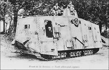 French Military World War 1: Captured German Tank, Somme Front. Pre-1915 B&W.