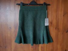 FREE PEOPLE SOLID GOLD SKIRT Green Rib Knit XS / UK 6 / 34 - NEW