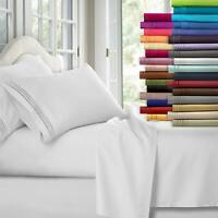 Egyptian Comfort 1800 Count 4 Piece Deep Pocket Bed Sheet Set 3 Sides king queen