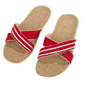 Summer Open Toe Flat Shoes Unisex Anti-slip Linen Home Indoor Sandals Size 6-9