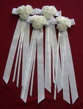 Autoschmuck, 4 große weiße Schleifen, 3er Rosen,Tür- Spiegelschleife,Kirchenbank