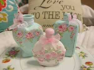 Shabby Chic Hand Painted Roses - Set of Three Bottles