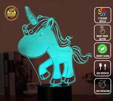 Unicorn Rainbow Candy Girls 3D Night Light  LED 7 Colour Touch Desk Lamp XMAS
