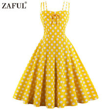 50s ladies Cocktail Vintage Retro Dress Strap Polka Dot party Swing Dress