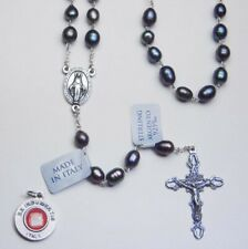 Genuine Black Cultured Pearl Rosary / Sterling Silver - Bonus St. Anthony Relic