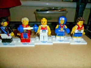 Lego - Original Olympic Minifigure - X 5  - Horse Rider, Boxer, Weight Lifter