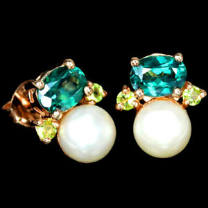 NATURAL AAA WHITE PEARL, TOPAZ & PERIDOT STERLING 925 SILVER STUD EARRING
