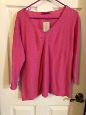 NWT Cut Loose Pink V Neck Cotton/Linen Top Size XL Has Small Defect