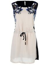 S/M Fit Beige Multicolour Printed Cinched Knotted Waist Dress