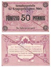Allemagne 50 pfennig Metz camp de prisonniers de guerre WWI-très rare POW question.