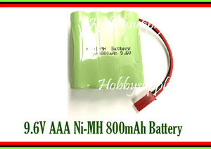 9.6V AAA Ni-MH 800mAh Rechargeable Battery JST Connector for Hobby RC Car Boat